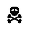 simple black skull bones icon vector image