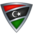 steel shield with flag libya vector image vector image