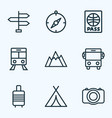 traveling outline icons set collection of auto vector image