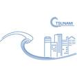 tsunami and big city flat line vector image vector image