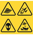 Warning UFO Signs vector image vector image