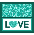 white on green alphabet letters love text frame vector image