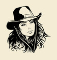 woman face with a cowboy hat black and white vector image vector image