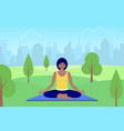 woman meditates sitting on nature vector image