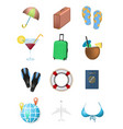 summer vacation set of objects vector image