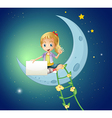 A girl sitting at the moon while holding an empty vector image vector image