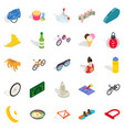 active life icons set isometric style vector image vector image