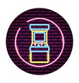 arcade machine video game neon vector image vector image
