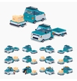 Blue compact car with the trailer vector image