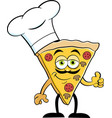 cartoon slice of pizza wearing a chef hat vector image vector image
