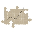 chart tablet with arrows vector image vector image