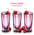 cherry cocktail drinks pink glasses vector image vector image