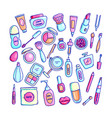 cosmetics hand drawn set vector image