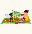 cute cartoon mother with kid resting on green vector image