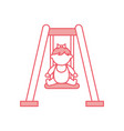 cute girl baby on swing avatar character vector image