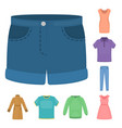 different kinds of clothes cartoon icons in set vector image vector image