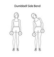 dumbbell side bend exercise outline vector image vector image