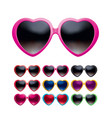 eyeglasses heart shape set isolated realistic 3d vector image vector image