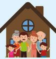 family members in the house characters vector image