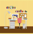 flat designer workplace concept vector image vector image