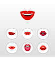 flat icon lips set of smile teeth lipstick and vector image vector image