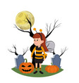 girl with bee costume and trees branches vector image