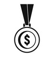gold dollar medal icon simple style vector image