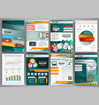 green and orange business brochure template with vector image vector image
