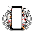 grunge floral frame with wings vector image vector image