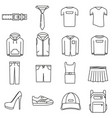 icons on the theme of womens and mens clothing in vector image