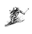 ink sketch skier vector image vector image