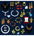 Jewelry and gems flat icons vector image