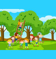 kids climbing ladder in the park vector image vector image