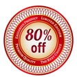 Label on 80 percent discount vector image vector image