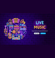 live music neon banner design vector image vector image