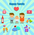 lovely couple and family info graphic icons vector image vector image