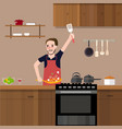 man in kitchen cooking stir fry preparing food vector image