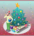 man with gifts isometric composition vector image vector image