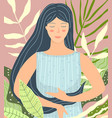 meditating woman in nature beauty flat design vector image