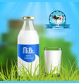 milk realistic composition vector image vector image