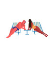 people at beach cartoon man and woman sitting on vector image vector image