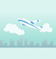 plane in clouds over city air travel vector image vector image