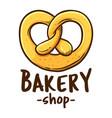pretzel bakery shop logo icon vector image