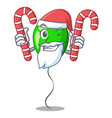 santa with candy green balloon on character vector image