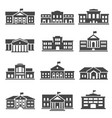 school university bold black silhouette icons set vector image vector image
