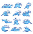 sea waves set blue marine and ocean nature vector image vector image
