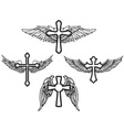 set cross with wings vector image