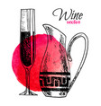 set hand drawn wine pitcher and a glass vector image