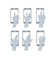 set hands user touch screen vector image