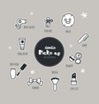 set of make up icons doodle vector image